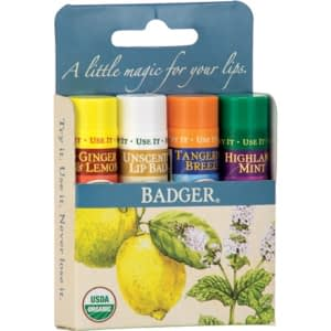 set 4 balsamuri de buze blue kit badger bioaleea