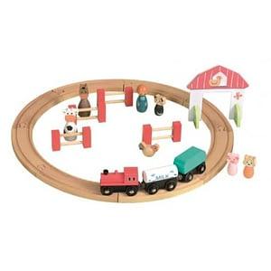 Circuit tren si figurine din lemn Egmont Toys