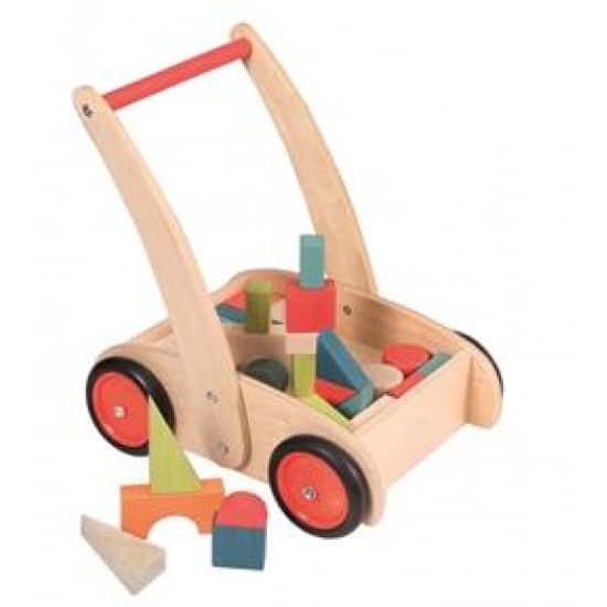 Carucior cu cuburi colorate din lemn Egmont Toys