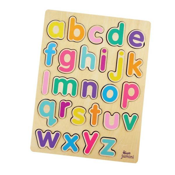 Puzzle din lemn alfabet litere de tipar mici